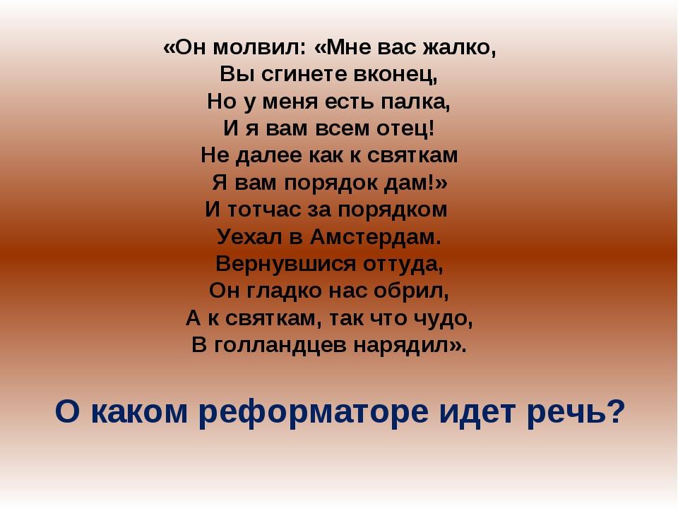 «Он молвил: «Мне вас жалко, Вы сгинете вконец, Но у меня есть палка, И я вам...