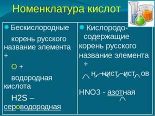 Номенклатура кислот Бескислородные корень русского название элемента + О +