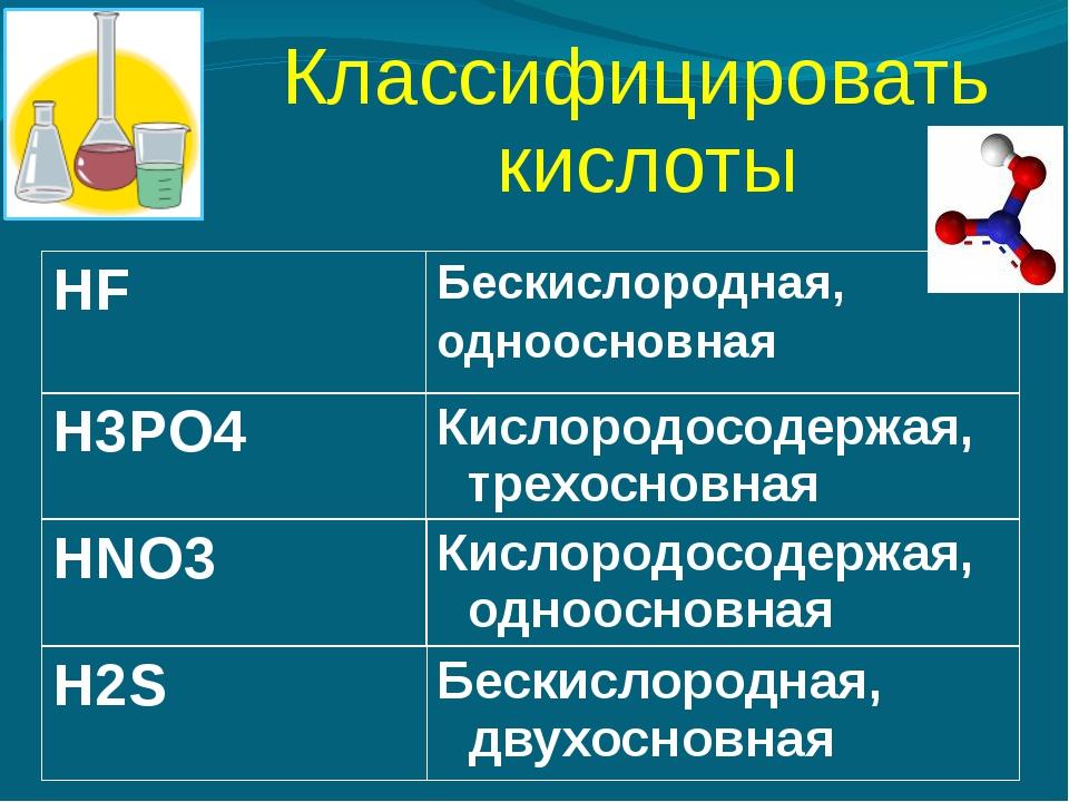 Классифицировать кислоты HF Бескислородная, одноосновная H3PO4 Кислородосодер...