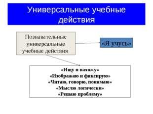 Познавательные универсальные учебные действия «Ищу и нахожу» «Изображаю и фик