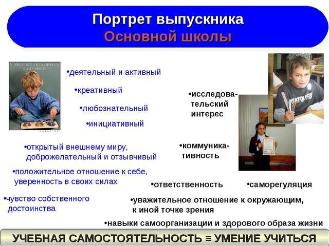 Портрет выпускника Основной школы деятельный и активный креативный любознател...