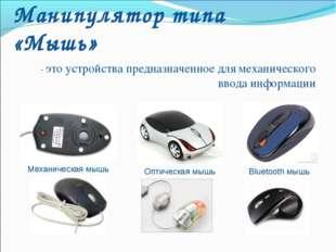 Манипулятор типа «Мышь» - это устройства предназначенное для механического вв