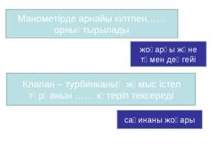 Манометірде арнайы кілтпен……орнықтырылады жоғарғы және төмен деңгейі Клапан –