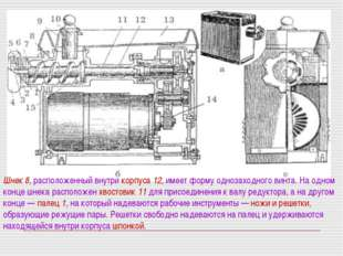 Шнек 8, расположенный внутри корпуса 12, имеет форму однозаходного винта. На