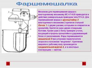 Механизм для перемешивания фарша к многоцелевому механизму МС 4-7-8-20 привод