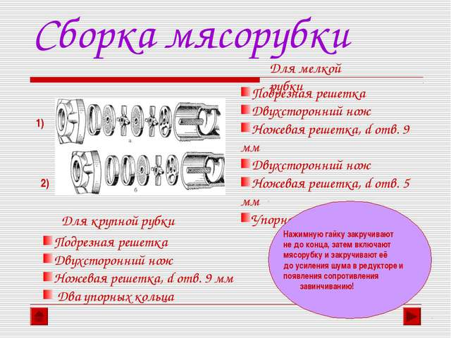 Сборка мясорубки 1) 2) Для мелкой рубки Подрезная решетка Двухсторонний нож Н...