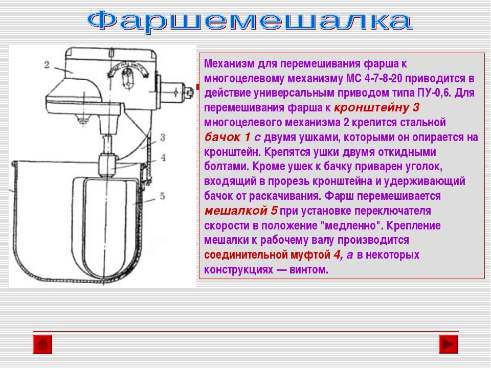 Механизм для перемешивания фарша к многоцелевому механизму МС 4-7-8-20 привод...