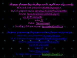Анкета участника Виртуальной академии школьника Фамилия, имя учащегося Носов