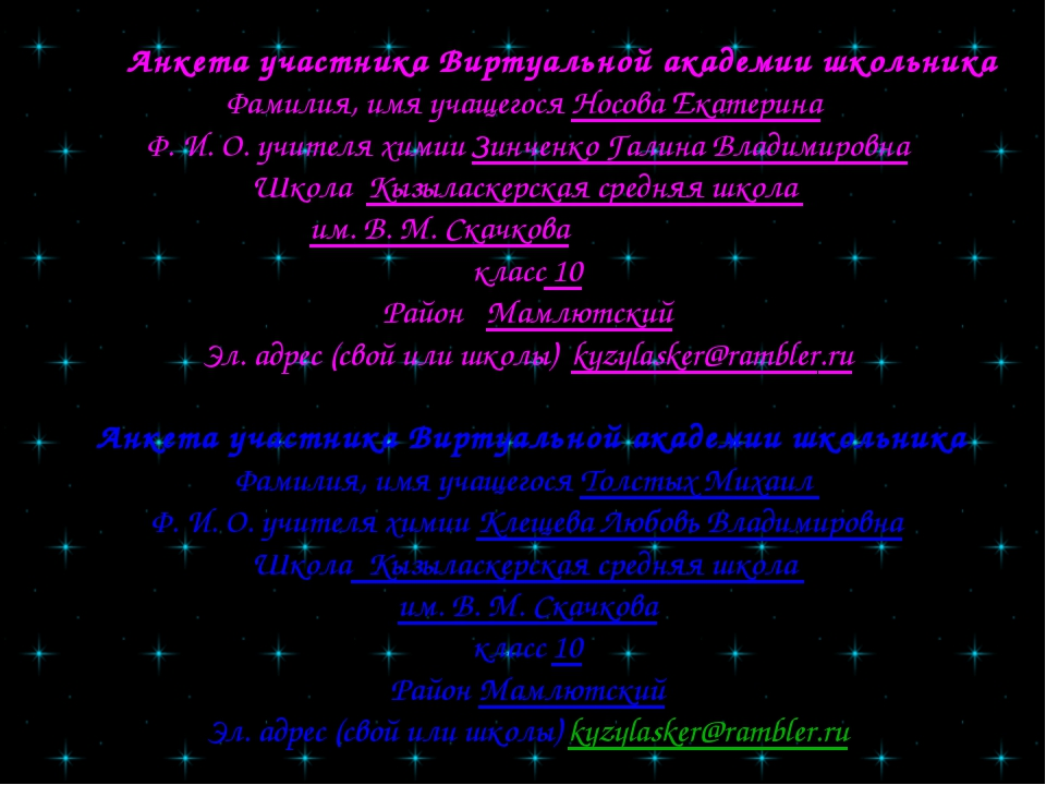 Анкета участника Виртуальной академии школьника Фамилия, имя учащегося Носов...
