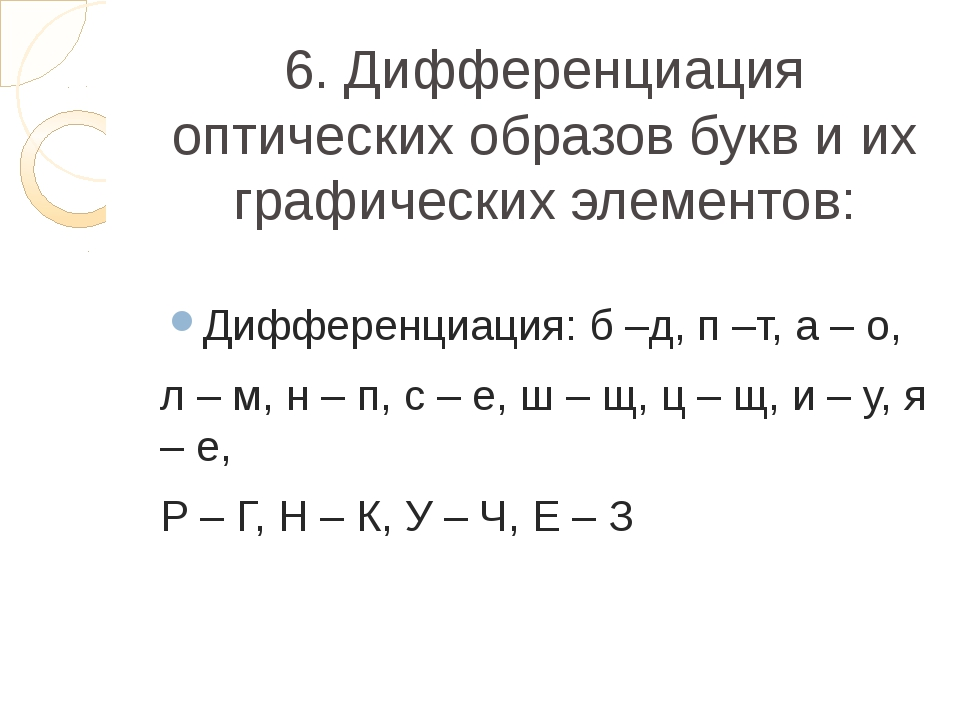 6. Дифференциация оптических образов букв и их графических элементов: Диффере...