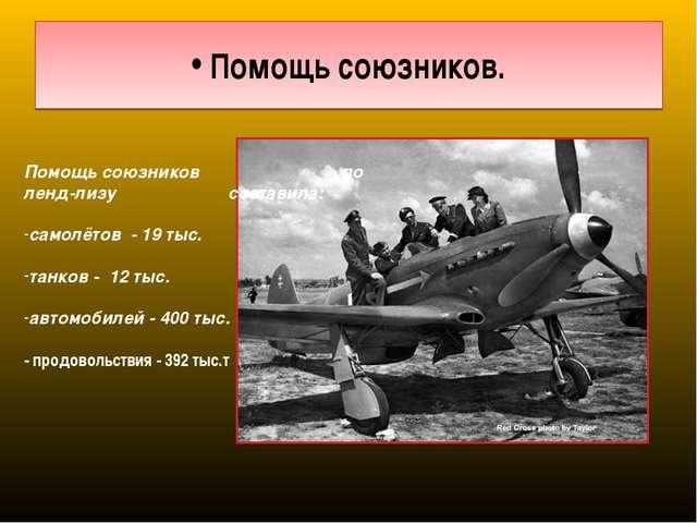 Помощь союзников. Помощь союзников по ленд-лизу составила: самолётов - 19 ты...