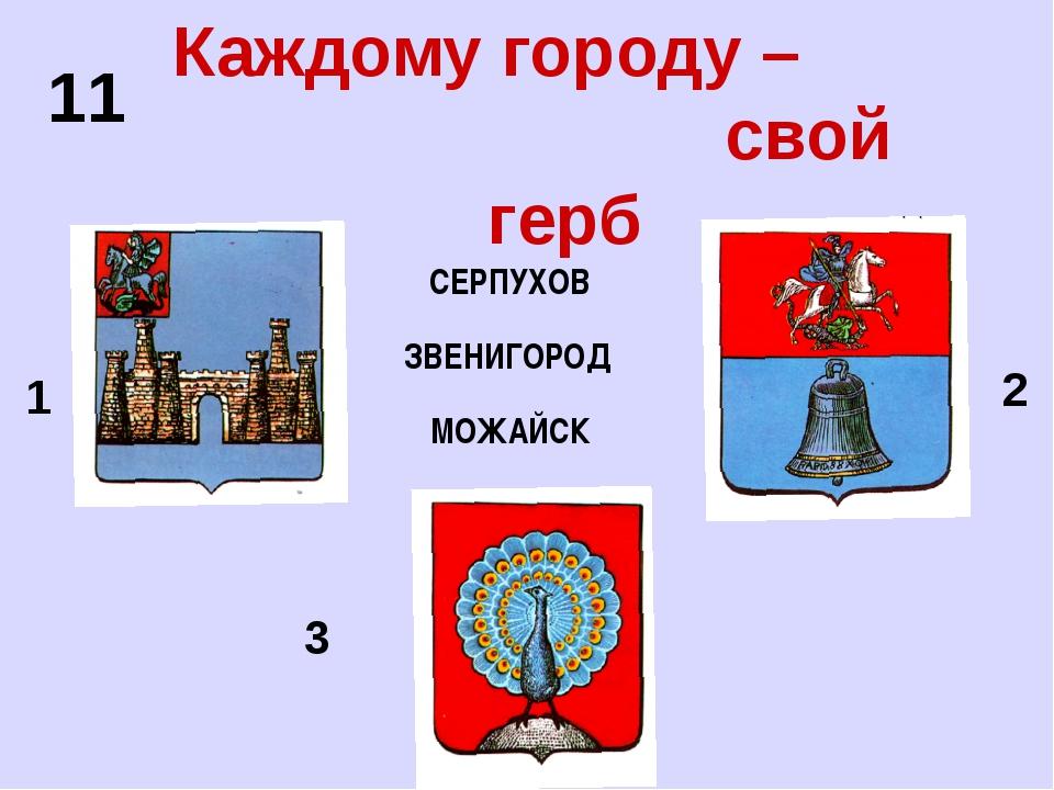 Каждому городу – свой герб СЕРПУХОВ ЗВЕНИГОРОД МОЖАЙСК 1 3 2 11