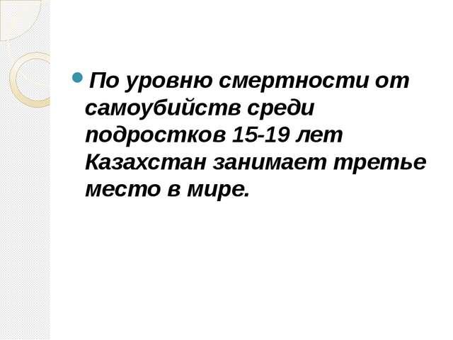 По уровню смертности от самоубийств среди подростков 15-19 лет Казахстан зани...