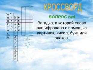 ВОПРОС №4 Загадка, в которой слово зашифровано с помощью картинок, чисел, бук