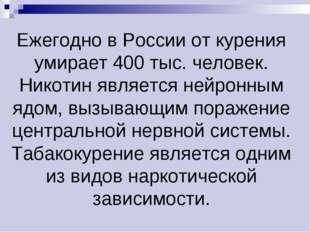 Ежегодно в России от курения умирает 400 тыс. человек. Никотин является нейро