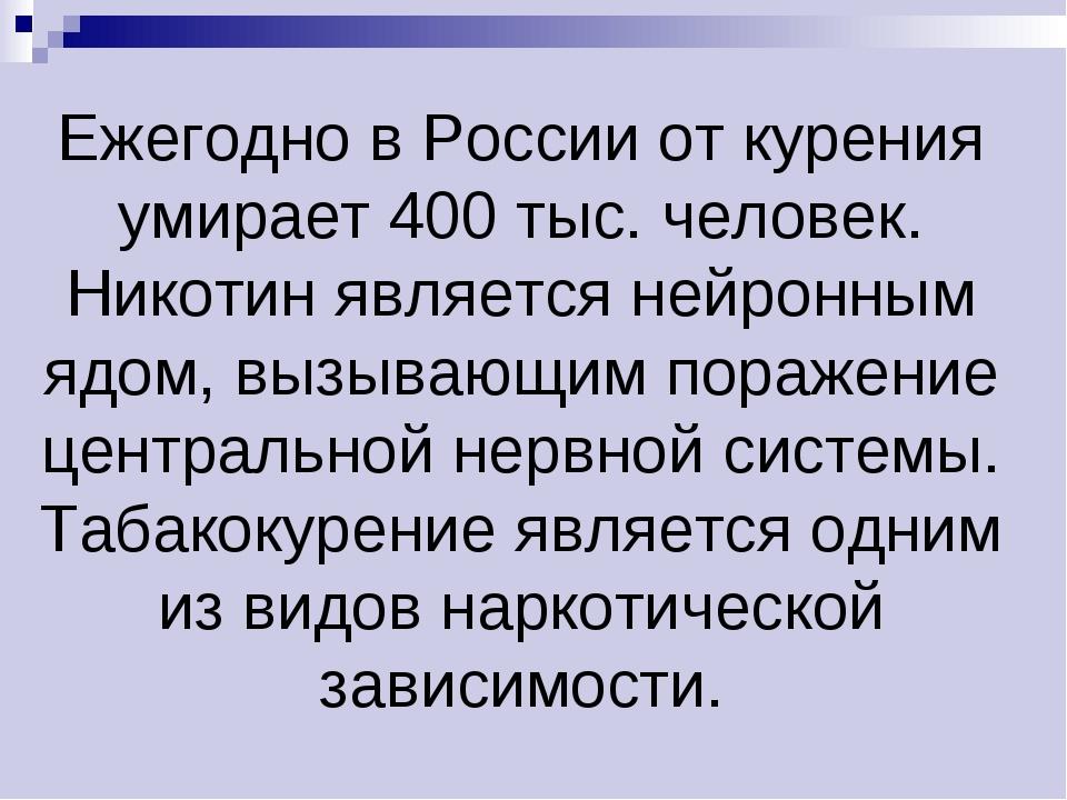 Ежегодно в России от курения умирает 400 тыс. человек. Никотин является нейро...