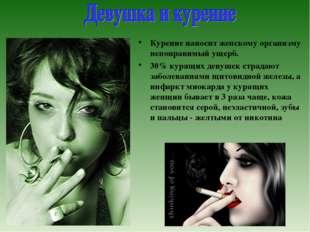 Курение наносит женскому организму непоправимый ущерб. 30% курящих девушек ст