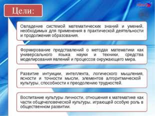 Цели: Овладение системой математических знаний и умений, необходимых для прим