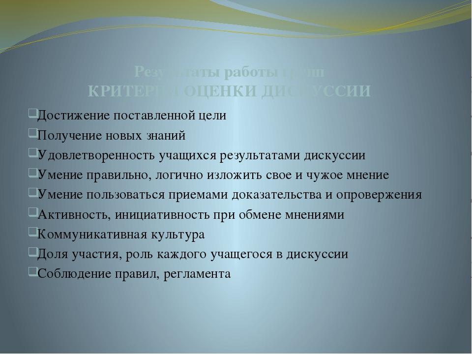 Результаты работы групп КРИТЕРИИ ОЦЕНКИ ДИСКУССИИ Достижение поставленной цел...