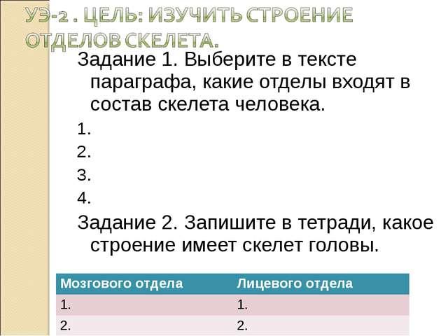 Задание 1. Выберите в тексте параграфа, какие отделы входят в состав скелета...