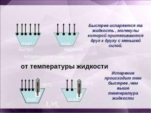 спирт медленно испаряющиеся жидкости вода Быстрее испаряется та жидкость , м