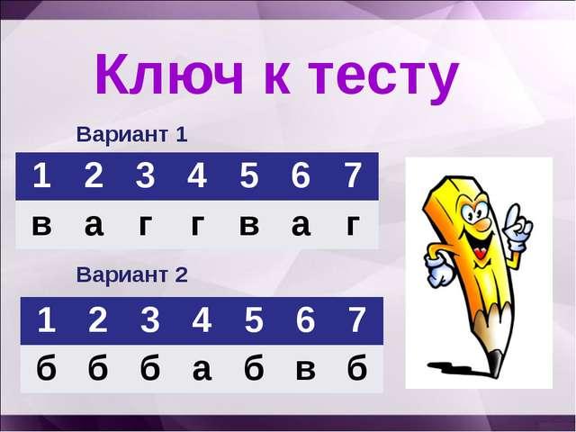 Ключ к тесту Вариант 1 Вариант 2 1234567 ваггваг 1234567 б...
