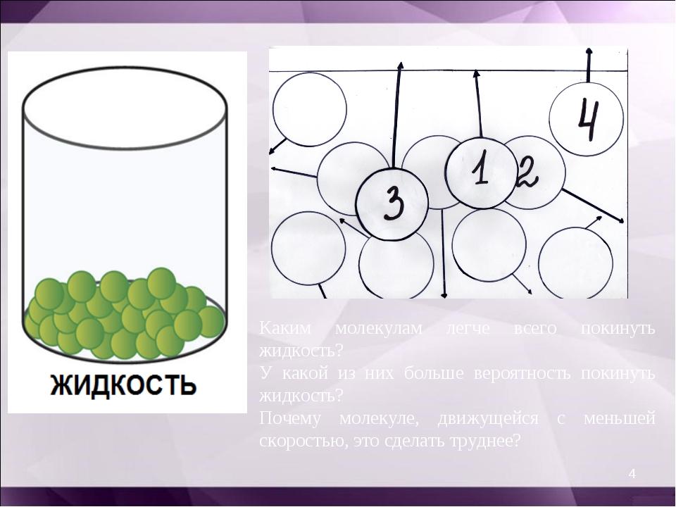 * Каким молекулам легче всего покинуть жидкость? У какой из них больше вероят...