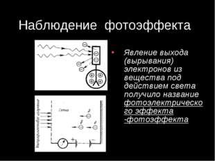 Наблюдение фотоэффекта Явление выхода (вырывания) электронов из вещества под