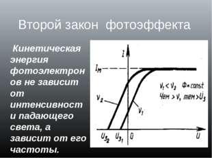 Второй закон фотоэффекта Кинетическая энергия фотоэлектронов не зависит от ин