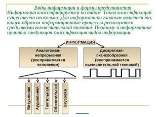 Виды информации и формы представления Информация классифицируется по видам.