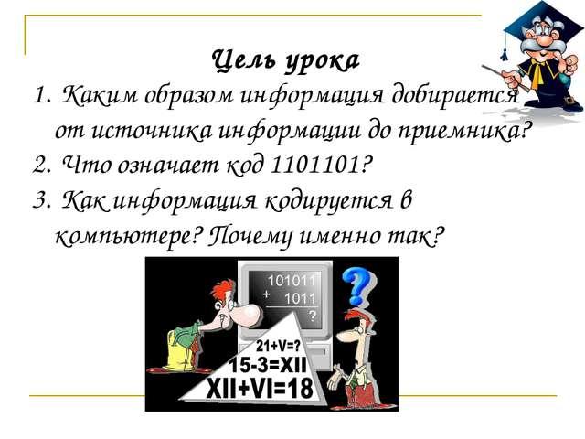Цель урока Каким образом информация добирается от источника информации до при...