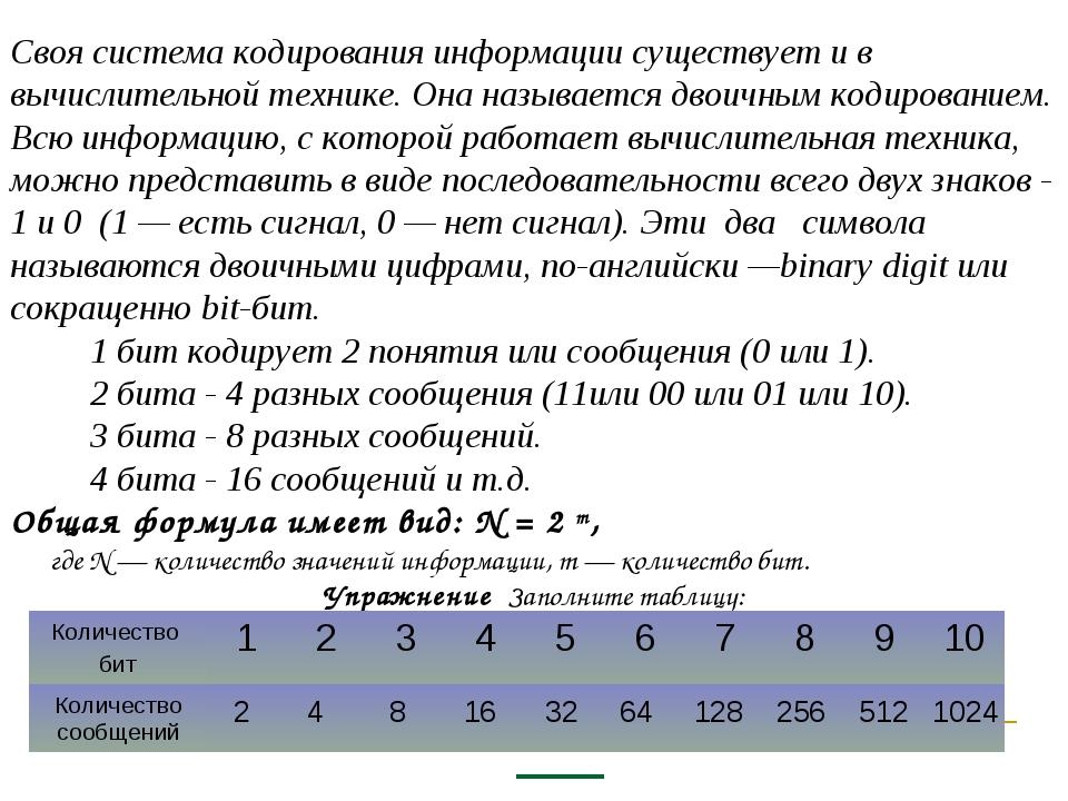 Своя система кодирования информации существует и в вычислительной технике. О...