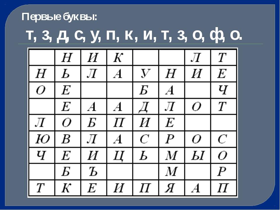 Первые буквы: т, з, д, с, у, п, к, и, т, з, о, ф, о.