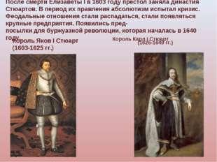 После смерти Елизаветы I в 1603 году престол заняла династия Стюартов. В пери