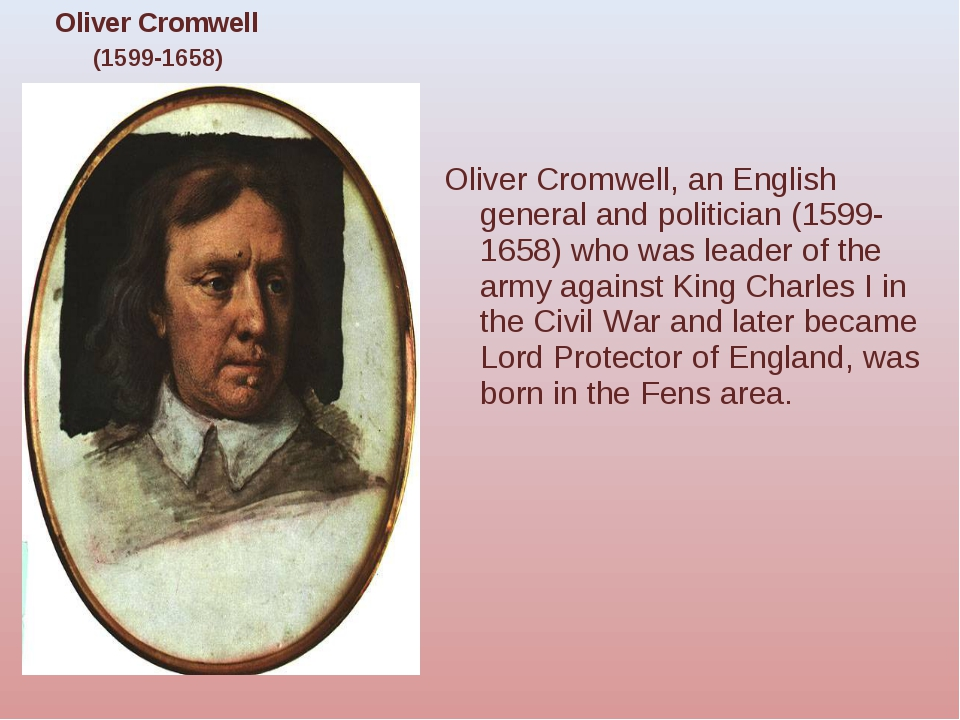 Oliver Cromwell, an English general and politician (1599-1658) who was leader...