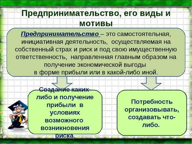 Предпринимательство, его виды и мотивы Предпринимательство – это самостоятель...