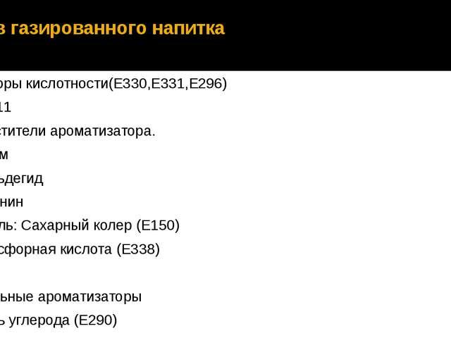 Состав газированного напитка Регуляторы кислотности(Е330,Е331,Е296) Кокс Е211...