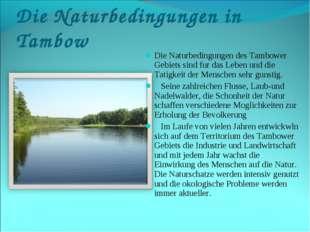 Die Naturbedingungen in Tambow Die Naturbedingungen des Tambower Gebiets sind