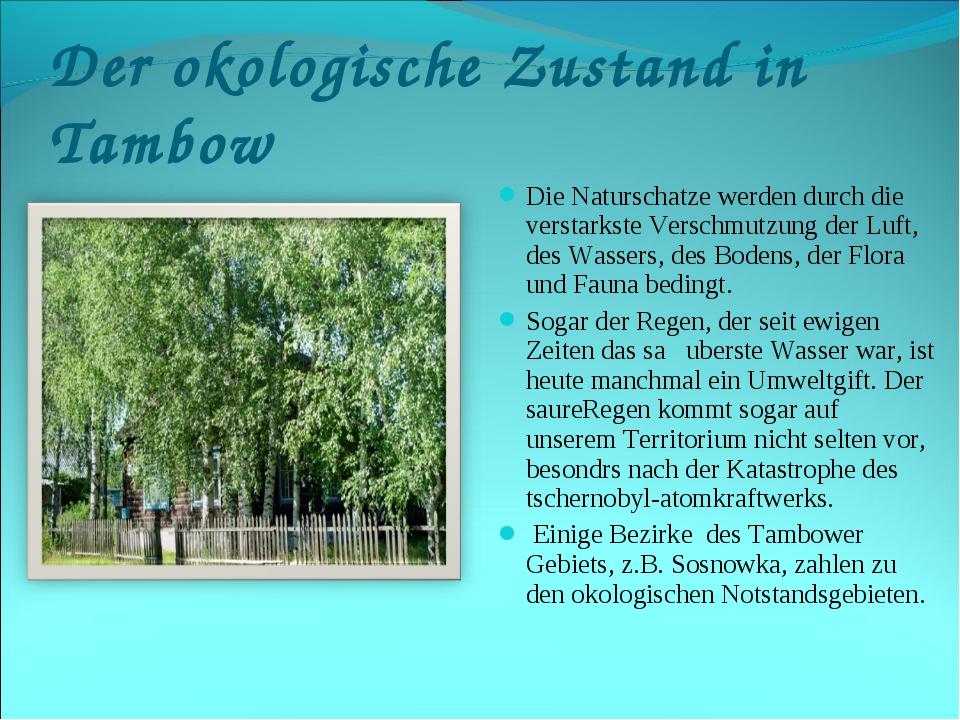Der okologische Zustand in Tambow Die Naturschatze werden durch die verstarks...