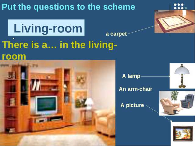 : Living-room Put the questions to the scheme A picture a carpet A lamp An ar...