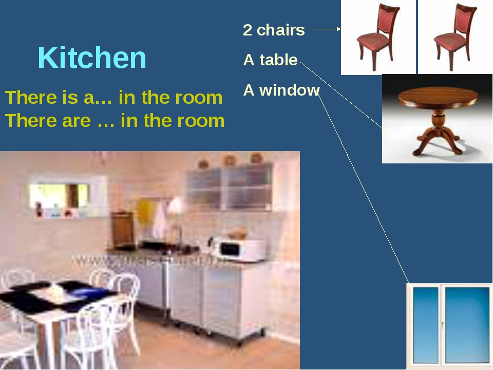 Kitchen There is a… in the room There are … in the room 2 chairs A table A w...