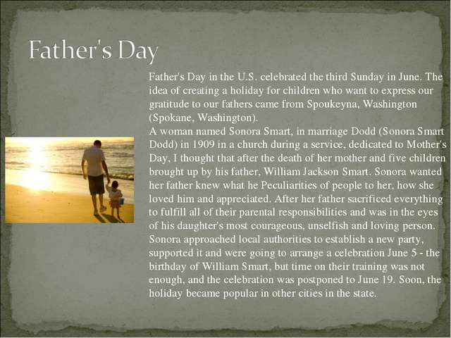 Father's Day in the U.S. celebrated the third Sunday in June. The idea of cre...