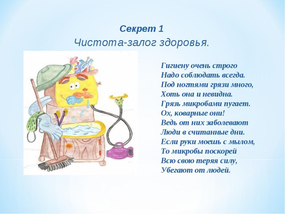 Секрет 1 Чистота-залог здоровья. Гигиену очень строго Надо соблюдать всегда....