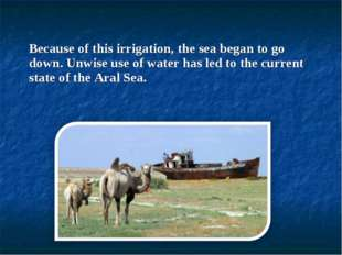 Because of this irrigation, the sea began to go down. Unwise use of water has