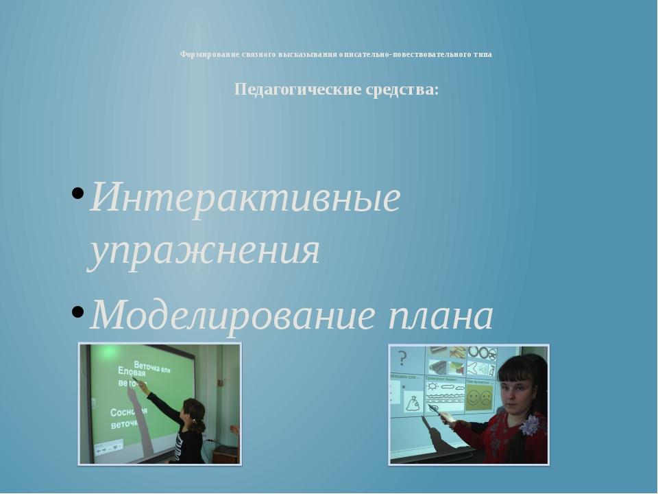 Интерактивные упражнения Моделирование плана Формирование связного высказыван...