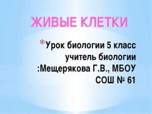 Урок биологии 5 класс учитель биологии :Мещерякова Г.В., МБОУ СОШ № 61 ЖИВЫЕ