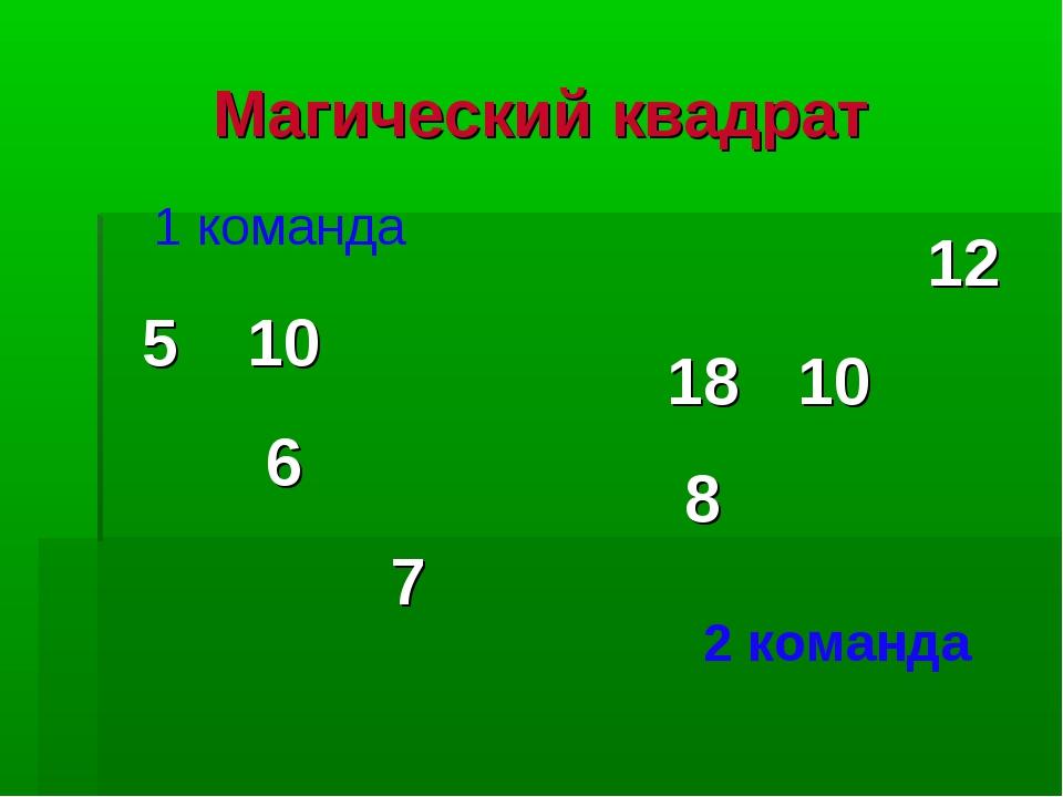 Магический квадрат 1 команда 2 команда