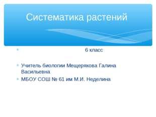 6 класс Учитель биологии Мещерякова Галина Васильевна МБОУ СОШ № 61 им М.И.