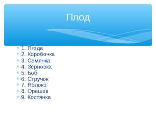 1. Ягода 2. Коробочка 3. Семянка 4. Зерновка 5. Боб 6. Стручок 7. Яблоко 8. О