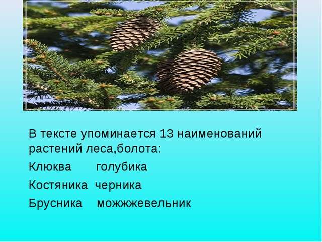 В ТЕКСТЕ УПОМИНАЕТСЯ 13 НАИМЕНОВАНИЙ РАСТЕНИЙ ЛЕСА, БОЛОТА: КЛЮКВА, БРУСНИКА...